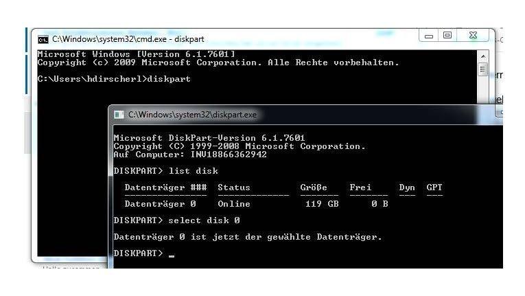 Der Befehl diskpart ist mit Vorsicht zu gebrauchen. Denn das Löschen startet ohne weitere Nachfrage! Auf dem Screenshot wählten wir die einzige vorhandene Festplatte unseres Arbeitsplatzrechners aus.