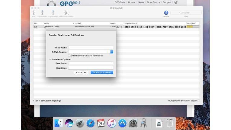 Mit der GPG-Suite erhalten Sie Tools zur Verschlüsselung in macOS.