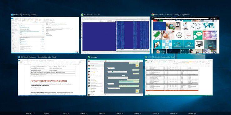 """Mit der neuen """"Aufgabenansicht"""" in Windows 10 erstellen Sie virtuelle Desktops."""