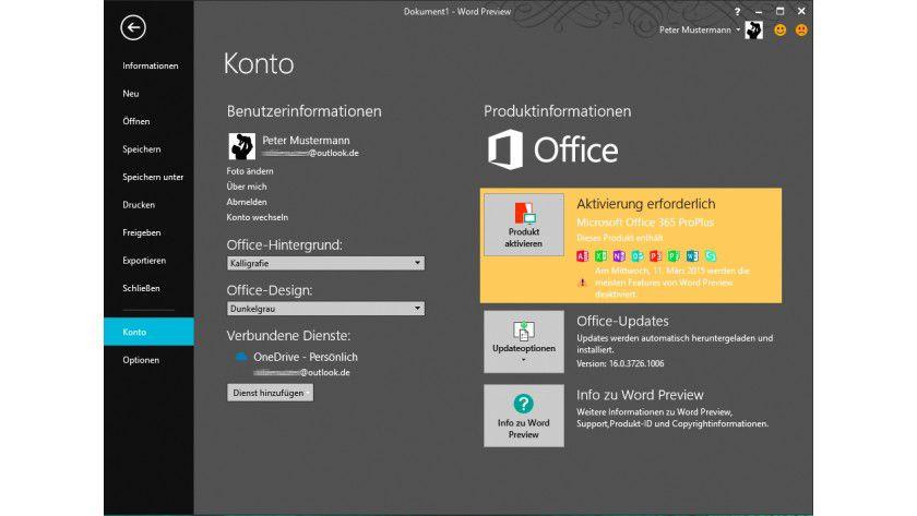 Ohne Online-Aktivierung läuft Office 2016 nur wenige Tage mit allen Funktionen – danach reduziert Microsoft den Leistungsumfang.