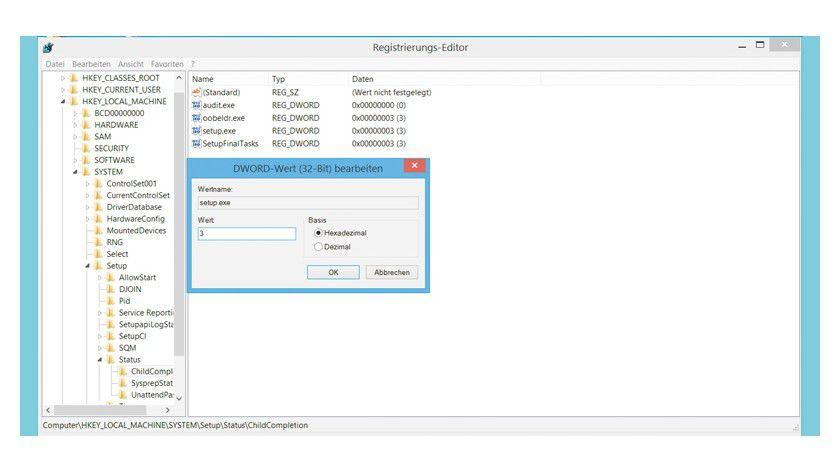 Wenn Windows bei der Wiederherstellung bockt, hilft ein Eingriff per Registry, um das System-Image fertig zu installieren.