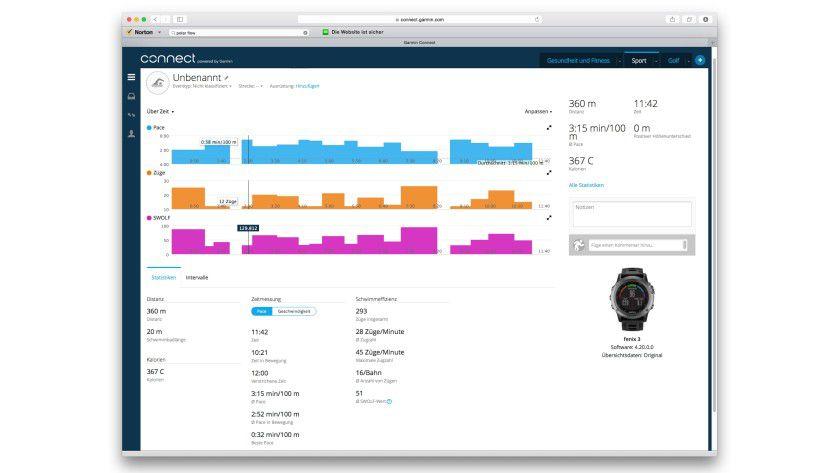 Während die Apple Watch fürs Schwimmtraining nicht zu gebrauchen ist, kann die Garmin Sportuhr anhand des Beschleunigungssensors und der Bewegungen Rückschlüsse auf den Schwimmstil und die Schwimmstrecke ziehen.