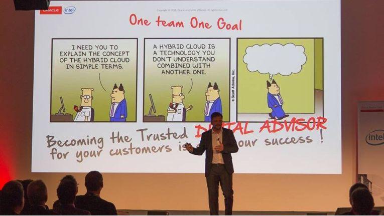 Trusted Digital Advisors – das sollen die Oracle-Partner nach den Wünschen von Christian Werner werden, in etwa so wie um Dilbert-Cartoon im Hintergrund.