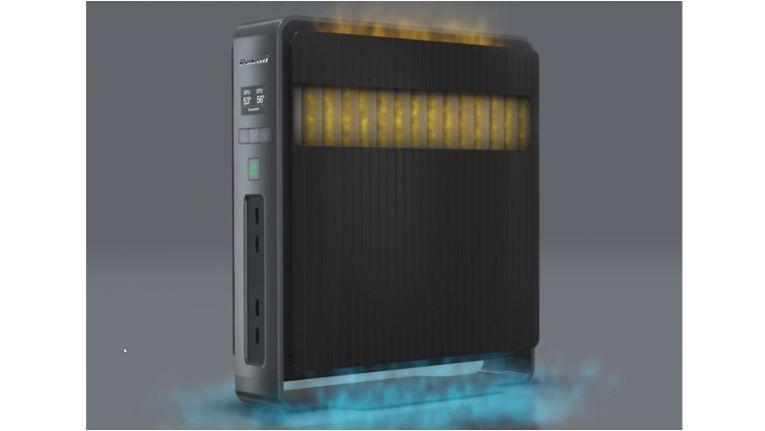 Extra Computer Pokini Workstation: nutzt Kamineffekt des Airflow Systems.