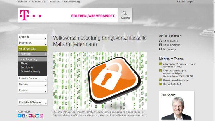 """Volksverschlüsselung: Telekom und Fraunhofer SIT versprechen eine """"laientaugliche Software"""" und eine """"transparente Infrastruktur""""."""