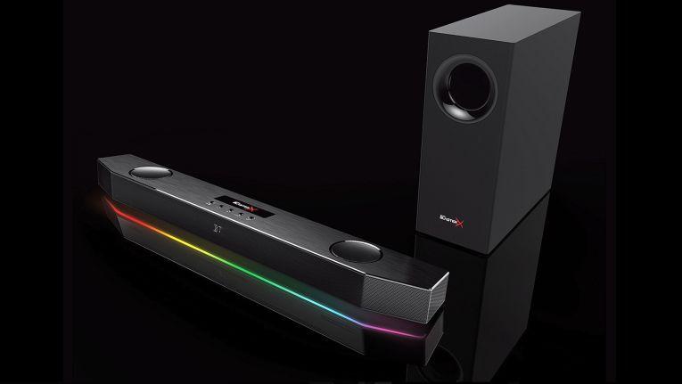 Die abgebildete Sound BlasterX Katana ist eine Mehrkanal-Soundbar mit einem empfohlenen Verkaufspreis von 299 Euro.