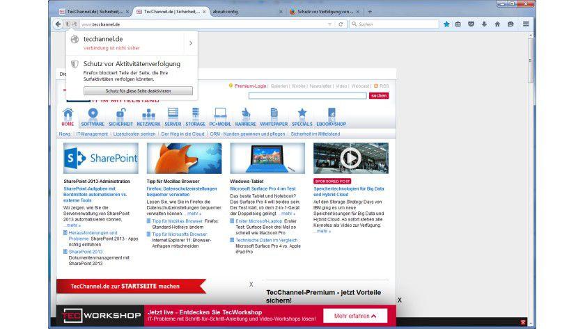 Tracking Protection: Wenn der Schutz vor Verfolgung von Aktivitäten aktiviert ist, macht Firefox das durch ein kleines Icon in der URL-Leiste deutlich.