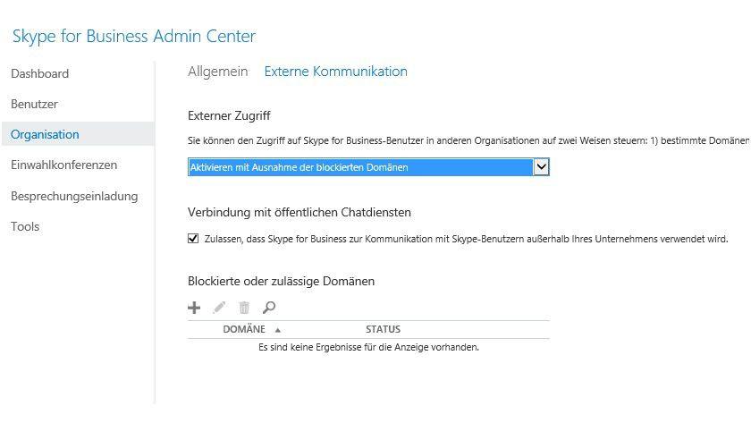 Im Skype for Business Admin Center legen Sie auch die externe Kommunikation ihrer Anwender fest.