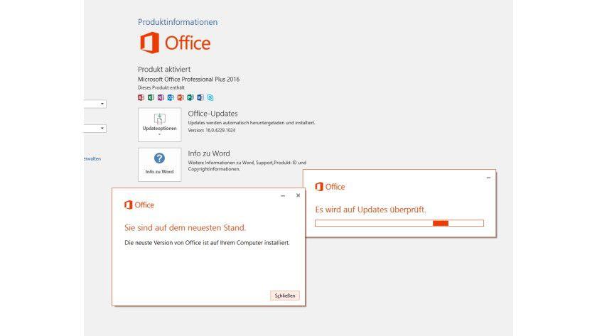Sie können die Windows-Update-Funktion von Windows 10 auch direkt über Office 2016 starten, um Office-Updates zu installieren.