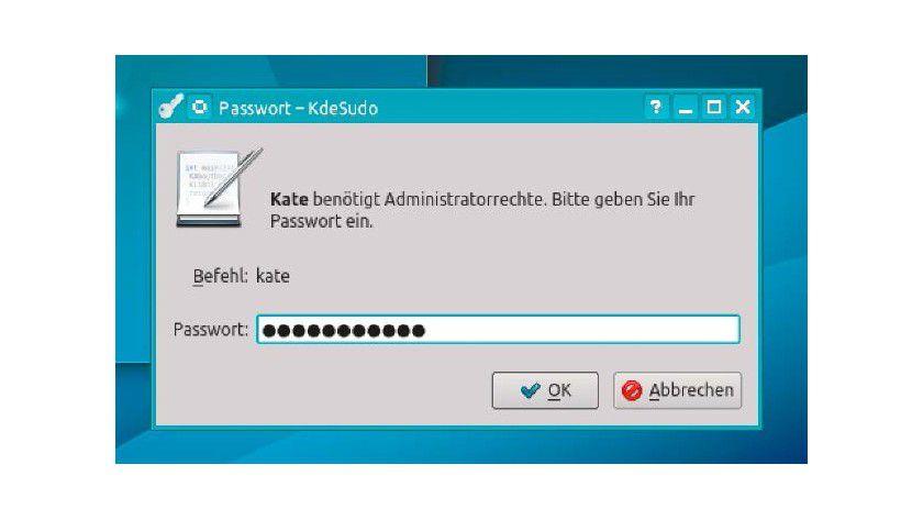 Die Installation des Gnome-Programms gksu ist unter KDE wegen zahlreicher abhängiger Paketen nicht ideal. KDE bietet sein eigenes sudo-Hilfsprogramm kdesu.