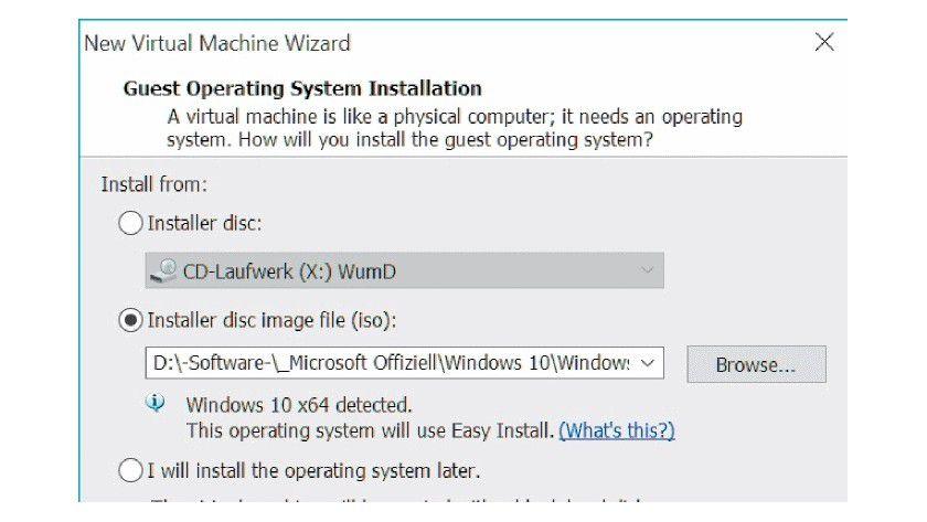 Für erkannte Betriebssysteme lässt sich die Installation in einer virtuellen Maschine weitgehend automatisieren und vereinfachen.