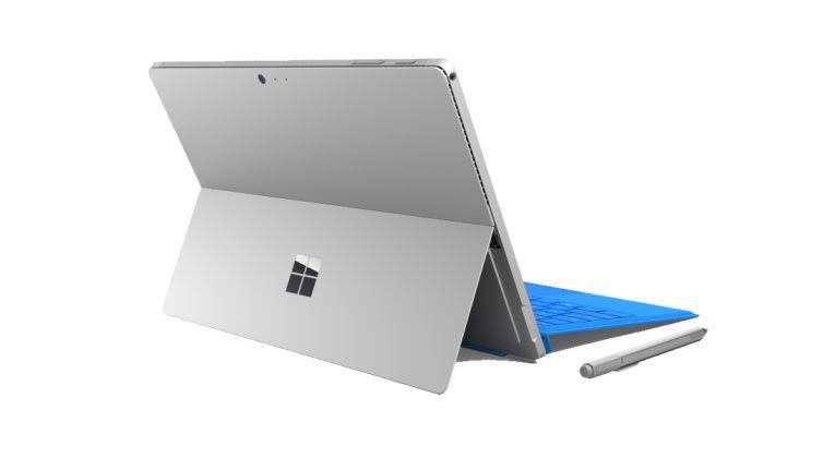 Durch den Kickstand können Sie das Surface Pro 4 in einem beliebigen Winkel einstellen, wenn Sie es als Notebook nutzen.