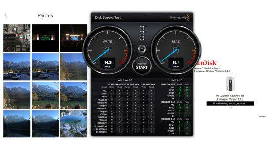 Das Sandisk iXpand ist das langsamste Laufwerk im Test. Punktabzüge gibt es für die Firmware, die sich nur via iOS 8 (!) oder Windows aktualisieren lässt. Als Foto-Speicher auf Reisen tauglich, mehr nicht.
