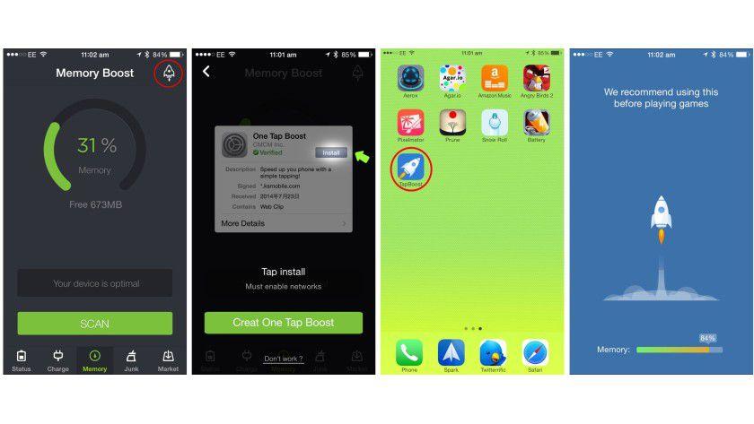 So legen Sie in der App Battery Doctor den One Tap Boost Shortcut an
