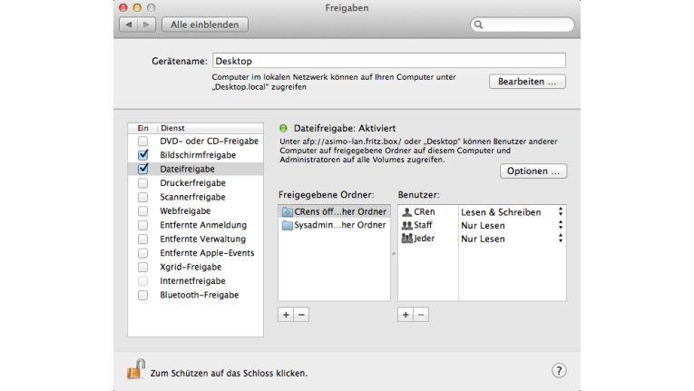 Schon ab Werk besitzen ältere Mac OS X-Versionen leistungsstarke Optionen für den Serverbetrieb im Heimnetzwerk