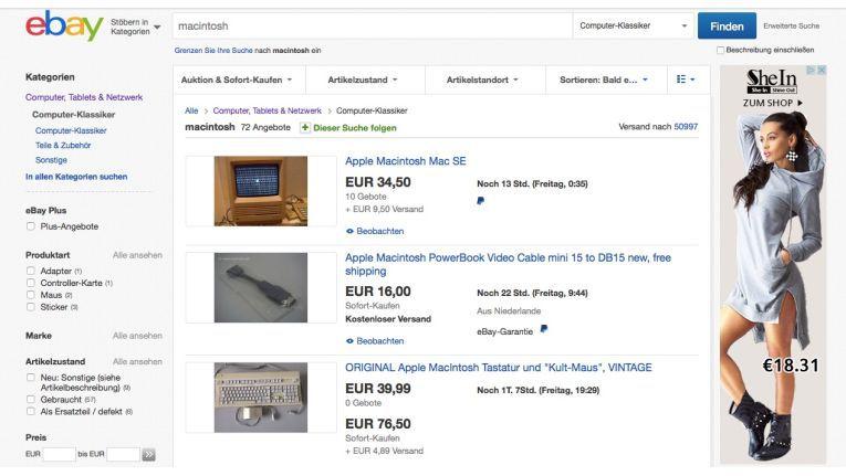 Bei Ebay werden zum Teil hohe Preise für alte Mac-Hardware erzielt.