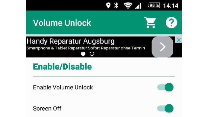 """Ist der Einschaltknopf Ihres Smartphones kaputt, kann seine Funktion auch die App """"Volume Unlock Power Button Fix"""" übernehmen."""