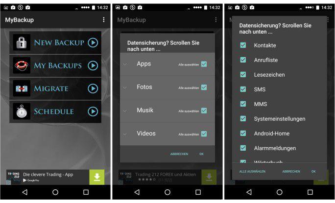 Mit der kostenlosen Version von MyBackup sichern Sie Daten, Medien und Apps direkt auf dem Smartphone
