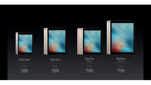 Alle Mitglieder der gewachsenen iPad-Familie