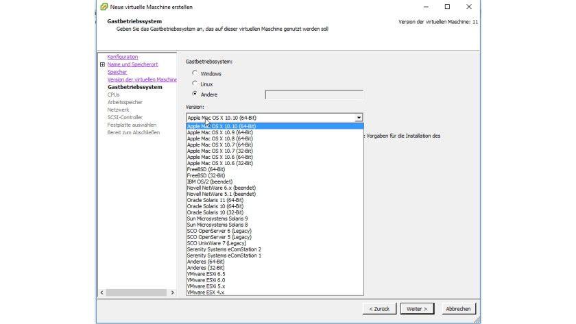 Nachdem Sie eine ISO-Datei für OS X installiert haben, können Sie das Betriebssystem in einer VM installieren