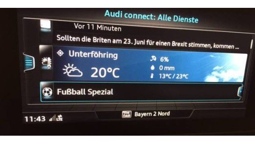 An dieser Stelle finden Sie das Fußball Spezial in Audi Connect.