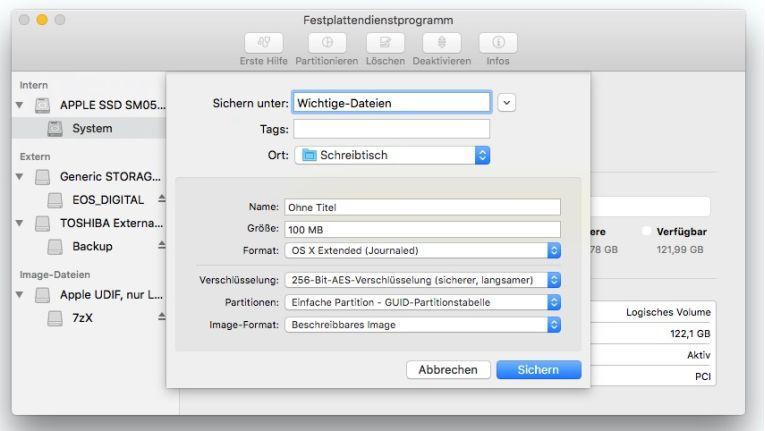 Mit dem Festplatten-Dienstprogramm können verschlüsselte DMGs erstellt werden. Diese können sicher per Internet zwischen Macs ausgetauscht werden.