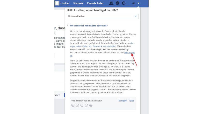 Nach einer Klickorgie kommen Sie in den Einstellungen von Facebook zum Bereich, in dem Sie ein Profil löschen können.