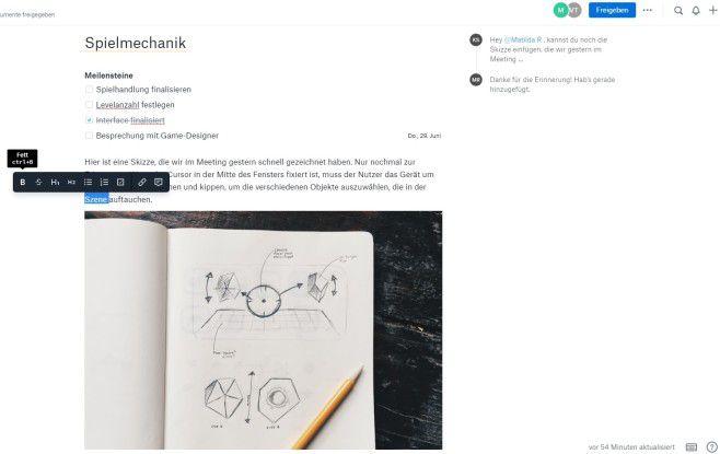 Dropbox Paper bietet für den Text zahlreiche Gestaltungsmöglichkeiten.