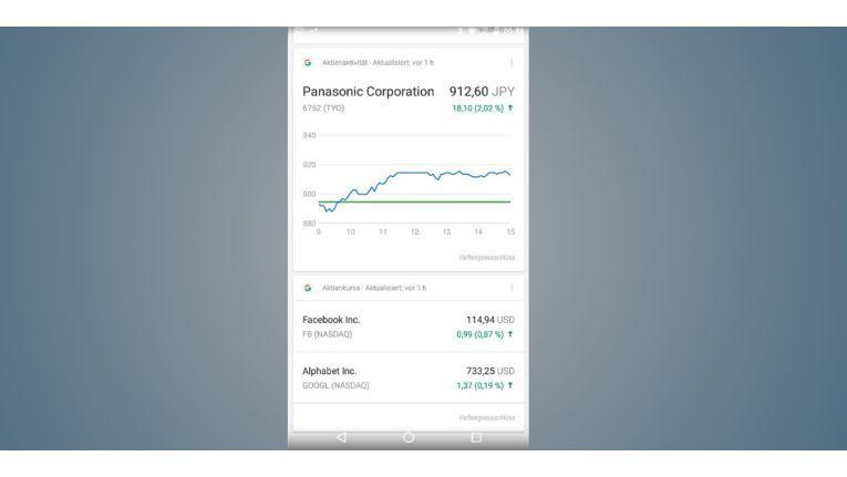 Auch die aktuellen Börsenkurse können Sie sich mit Google Now anzeigen lassen – übersichtlich und auch als Verlaufsgrafik
