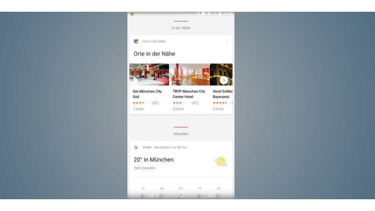 Google Now zeigt Ihnen auf Wunsch auch interessante Orte in der Nähe an, etwa Restaurants und Hotels mit Bewertung und Entfernung.