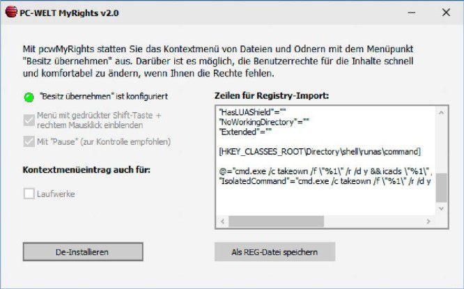 """Das Tool PC-WELT-MyRights baut """"Besitz übernehmen"""" in das Kontextmenü von Ordnern und Dateien ein. Darüber rufen Sie Takeown und Icalcs bequem auf."""