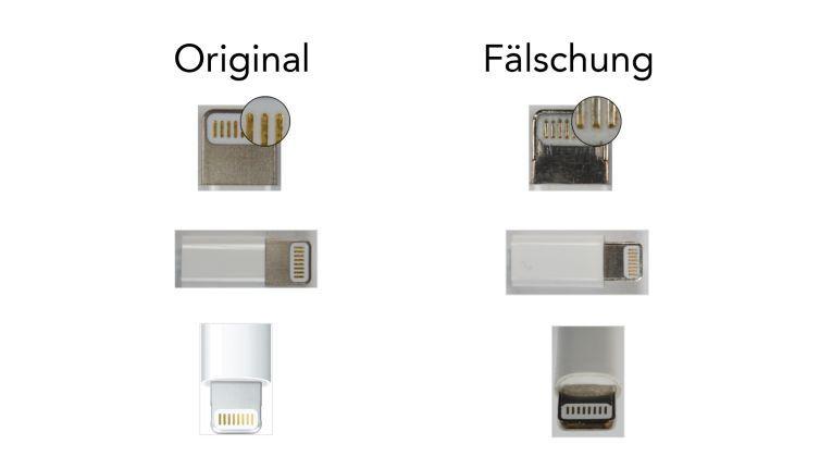 Achten Sie beim Lightning-auf-USB-Kabel auf den Connector.