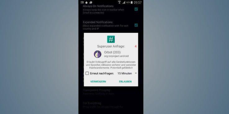 Sie müssen Sie Superuser-Anfrage bestätigen, um auf den vollen Funktionsumfang der App zuzugreifen.