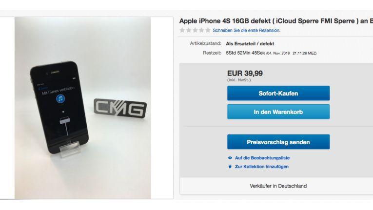 Ein iPhone mit iCloud-Sperre erhält man schon für 40 Euro...