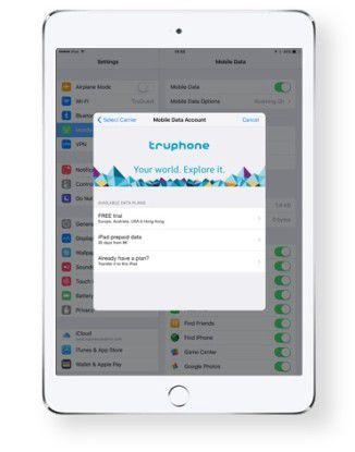 iPad mit Truphone Tarif.
