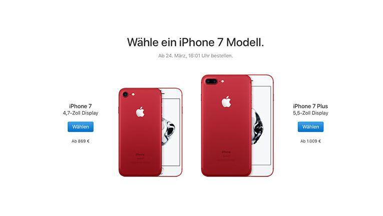 Für einen guten Zweck: Einen Teil der mit dem iPhone 7 Red erzielten Erlöse stiftet Apple.