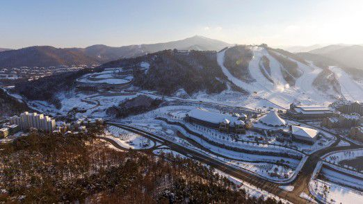Ski Resort in Pyeongchang (Südkorea).