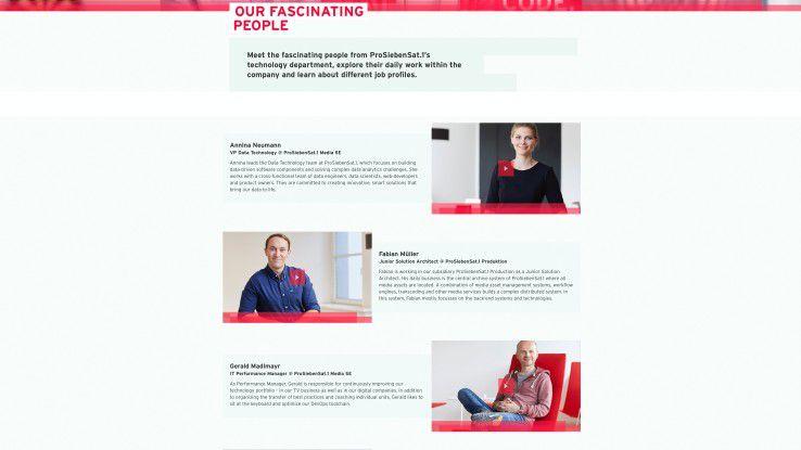 Um den Bewerber mit emotionalen Geschichten berühren zu können, stellt ProSiebenSat.1 auf der Website die Mitarbeiter aus verschiedensten Bereichen in Film-Clips vor.