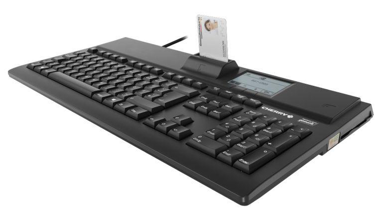 Die Tastatur mit Kartenleser G87-1505 von Cherry erfüllt die Anforderungen des Online-Produktiv-Betriebs in der Telematikinfrastruktur des Gesundheitswesens.