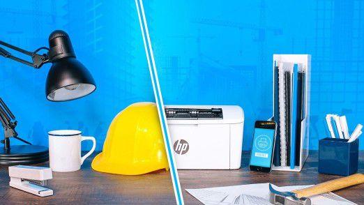 Kompakt wie ein Bauhelm: Die neuen LaserJet-Modelle M15 und M28 von Hewlett-Packard.