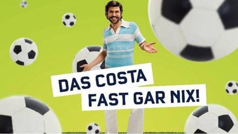 Auch zur WM wieder im Einsatz: Mobilcom-Debitel-Testimonial Costa-fast-gar-nix