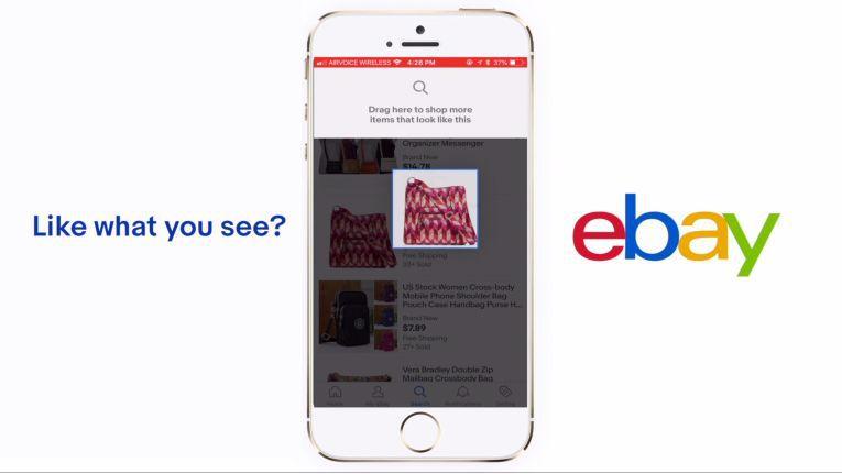 Per Swipe wird das Produktbild mit der Visual Shopping Funktion zum Suchbegriff