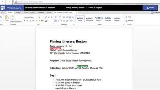 Mehrere Personen können in Dropbox gespeicherte Dokumente gleichzeitig in Word Online, Excel Online und PowerPoint Online bearbeiten.