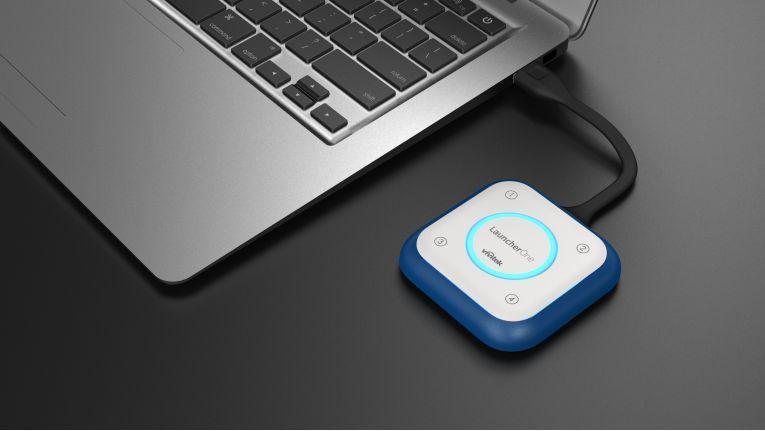 Mit dem USB-Dongle Vivitek LauncherOne und der passenden Basisstation lassen sich drahtlose Präsentationen sicher verschlüsseln.