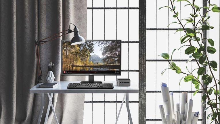 Die Office-PCs aus der Acer Revo-Cube-Reihe beanspruchen nur wenige Quadratzentimeter Stellfläche. So lassen sich auch kleine Büros platzsparend ausstatten, ohne überladen zu wirken.
