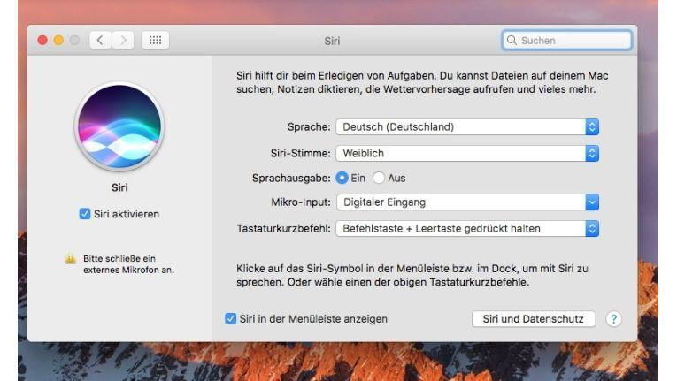 Siri bietet eigene Tastaturkürzel, die Sie selbst anpassen können.