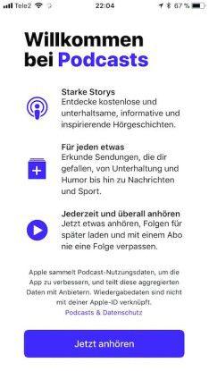 Neu gestaltet zeigt sich die Podcast-App und weist beim ersten Öffnen auf ihre Stärken hin.