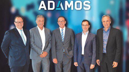 Die Gründungsmitglieder der Adamos GmbH (v.l.n.r.: Christian Thönes, CEO DMG MORI AG; Guenter Lauber, CEO ASM Assembly Systems; Ralf W. Dieter, CEO Dürr AG; Jochen Peter, Geschäftsführer Carl Zeiss Industrielle Messtechnik; Karl-Heinz Streibich, CEO Software AG).