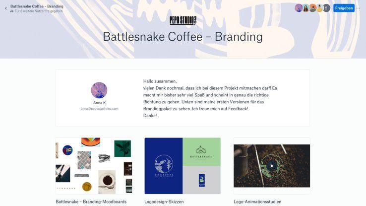 Beispiel Ausschreibungen: Via Dropbox Showcase liefern Teilnehmer ihre - auch multimedialen - Dateien übersichtlich und mit Branding an.