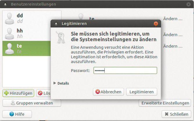 Manche Einstellungen müssen Sie mit dem Passwort des Systemverwalters bestätigen.